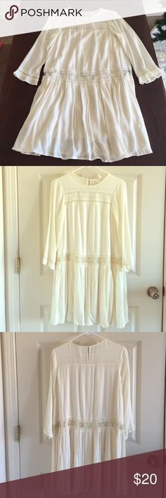 Cream boho dress Only worn once, like new, just too big for me. H&M Dresses Long Sleeve