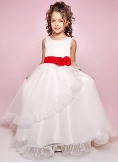 dcb2dccd133 A-Line Princess Scoop Neck Floor-Length Organza Satin Flower Girl Dress  With Sash