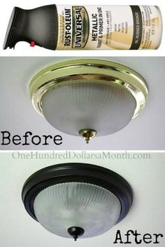 30 Low-Budget Makeovers You Could Do With Spray Paint If you want to give a low-budget makeover to any part of your home, then we suggest. Home Improvement Projects, Home Projects, Home Renovation, Home Remodeling, Kitchen Remodeling, Cheap Home Decor, Diy Home Decor, Decor Room, Painting Light Fixtures