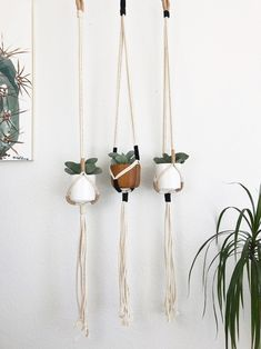 This Modern Macrame plant hanger is handmade with natural 100 cotton rope. Each hanger has suede accents in either black, beige or both creating a modern look on a classic design. There are 3 different color ways to choose from in 2 different sizes. Macrame Plant Holder, Macrame Plant Hangers, Plant Holders, House Plants Decor, Plant Decor, Modern Macrame, Diy Hanging Planter, Diy Planters, Pot Hanger