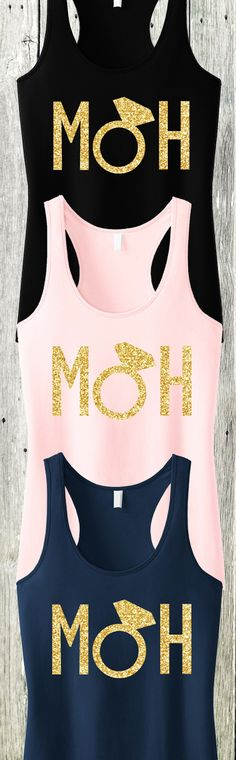 Gold Glitter #Wedding Tanks for the MAID OF HONOR or MATRON! Available in Black, Blush, or Navy Blue at www.MrsBridalShop.com, click here to buy https://mrsbridalshop.com/collections/wedding-party/products/moh-maid-of-honor-tank-top-with-gold-glitter-pick-color