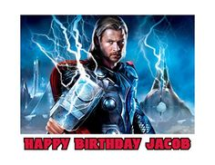 Thor The Avengers Image Photo Cake Topper Sheet Personalized Custom Customized Birthday Party  14 Sheet  76932 -- Click on the image for additional details.