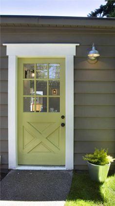 Exterior redo...gray, white, colored door, trim.