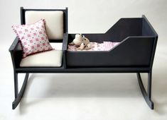 Configure the nursery - rocking lulls baby to sleep -  What a great idea - the rocking chair in combination with bed ensures relaxation of the mother and child.