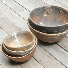 antique calabash bowls, repaired with metal; from Senegal
