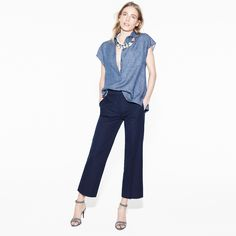 J.Crew Looks We Love: Women's Collection Italian chambray twill popover, cropped patio trouser, crystal palm leaf necklace, and ankle-strap high-heel sandals.