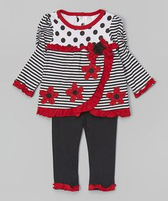 Take a look at this Red Stripe Flower Ruffle Top & Ruffle Leggings - Infant on zulily today!