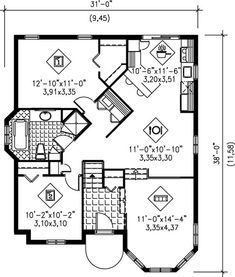 Make wider and add stairway Cottage Style House Plan - 2 Beds Baths 1028 Sq/Ft Plan Floor Plan - Main Floor Plan Cottage Style House Plans, Bungalow House Plans, Family House Plans, Best House Plans, Country House Plans, Small House Plans, House Floor Plans, Cottage House, Victorian House Plans