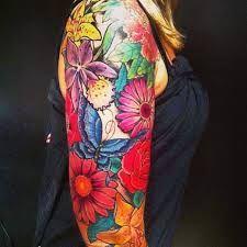 women flower sleeve tattoos - Google otsing   tatuajes | Spanish tatuajes  |tatuajes para mujeres | tatuajes para hombres  | diseños de tatuajes http://amzn.to/28PQlav