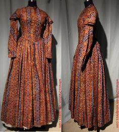 Printed wool challis, American, mid 1840's-early 1850's. Private collection. Good construction pictures.