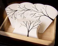 Tree Pillow Boxes -Handpainted -Black and White Wedding Decoration -Damask Wedding -Fall Wedding Accessory -Winter Wedding -SALE