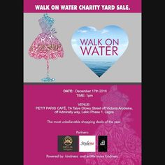 G I V E.  Let's use this opportunity to give back. Let's Walk on Water together and help make dreams come true. This Saturday 1pm at Petit Paris Café. Come through with open hearts and an open wallet.