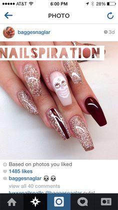 Perhaps a skull love nail will suit you just fine this October.  The Swarovski elements definitely take this mani to a lux place.  The champagne glitter, and the rich brown are a lovely complement! Thank you for the nailspiration @baggesnaglar!!   #Skulls #DiaDeLosMuertos #nails #nailcotic #Halloween #Fall #Festive #Fashion #Nailart #Nailartswag