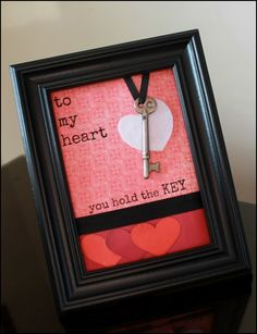 Framed Key to My Heart Valentines craft