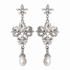 diamante crystal wedding earrings with pearls Prom Jewelry, Pearl Jewelry, Bridal Jewelry, Chandelier Earrings, Drop Earrings, Crystal Earrings, Flower Shoes, Vintage Chandelier, Chandelier Wedding
