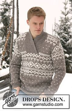 """Ravelry: 0-812 Men's jumper with pattern and shawl collar in """"Alaska"""" pattern by DROPS design"""