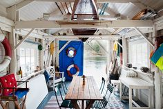 The Boathouse: a new definition to lakefront living! Nantucket, Guest House Shed, Les Hamptons, Boat Shed, Beach Shack, Surf Shack, Waterfront Homes, House In The Woods, Restaurant Design