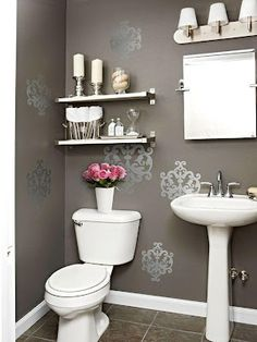Small Bathroom Design Ideas In The Philippines to Very Small Bathroom Interior Design Ideas & Bathroom Sink Overflow while Bathroom Decor Nautical Downstairs Bathroom, Bathroom Wall Decor, Bath Decor, Bathroom Ideas, Bathroom Shelves, Bathroom Stencil, Bathroom Storage, Bathroom Remodeling, Bathroom Interior