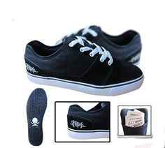 Fatal Clothing Low Pro Mens Black Canvas & Suede Shoes Skull Logo Rubber Sole #Fatal #AthleticSneakers