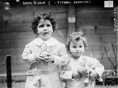 "1912- ""Louis and Lola, the Titanic Orphans."" Real names: Michel and Edmond Navratil were put on the last lifeboat successfully launched from the ship by their father. Michel claimed their father telling him: ""When your mother comes for you, as she surely will, tell her that I loved her dearly and still do. Tell her I expected her to follow us, so that we might all live happily together in the peace and freedom of the New World."" Their mother, Marcelle, found them after seeing newspaper…"