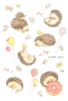 ハリネズミごろごろ|さぎりのイラストレーション Hedgehog Drawing, Hedgehog Art, Cute Hedgehog, Wallpaper Kawaii, Cute Wallpaper Backgrounds, Cute Wallpapers, Hedgehog Illustration, Illustration Art, Animal Drawings