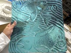 make an impression on iridized glass or transparent glass. free tutorial