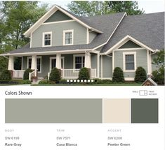 Possible house colors in shades of green from Sherwin Williams paint colors  by collection exterior color schemes suburban traditional