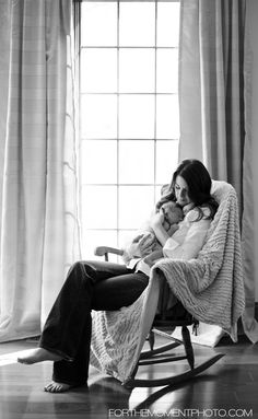 St Louis Lifestyle Newborn Photography of the cutest 7 day old newborn baby boy with mom in a rocking chair, portraits by For The Moment Photography #newborn #babyboy #forthemomentphotography