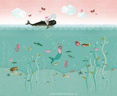 Mural Zeemeermin van Pimpelmees! Shop NU met korting en laat het gezichtje van deze zeemeermin vervangen door een foto van je eigen kindje! | Kinderkamerstylist.nl
