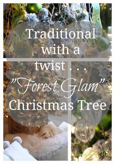 """This flocked Christmas tree goes """"Forest Glam"""" with simple woodsy & natural elements used along side traditional glass ornaments and satin ribbon."""