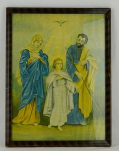 Framed Religious Picture 16x12 Vtg The Holy Family Mary Joseph Jesus Christ Art