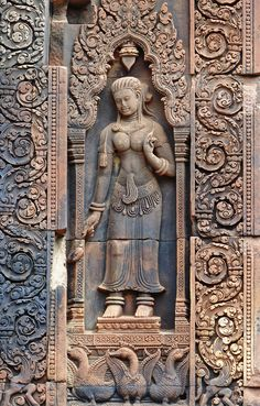 https://flic.kr/p/oqVJHf   Banteay Srei Carving   Banteay Srei is a 10th-century Cambodian temple dedicated to the Hindu god Shiva. Located in the area of Angkor in Cambodia.  It is unique as it is made from sandstone.
