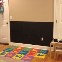 chalkboard wall playroom | Playroom Ideas / Playroom Chalkboard Wall  Can do this with foam board in a rental