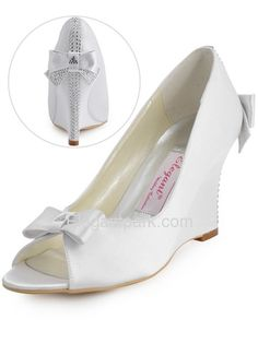 White Peep Toe Bow Rhinestone Satin Wedges Wedding Bridal Shoes (EP41020)
