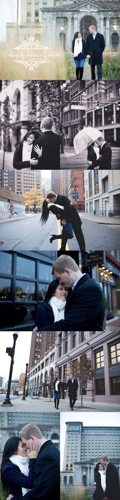 Weddings by Adrienne and Amber Royal Oak Wedding Photography #detroit #engaged #love #kiss #fall #umbrella #hugs #sun #wedding #building