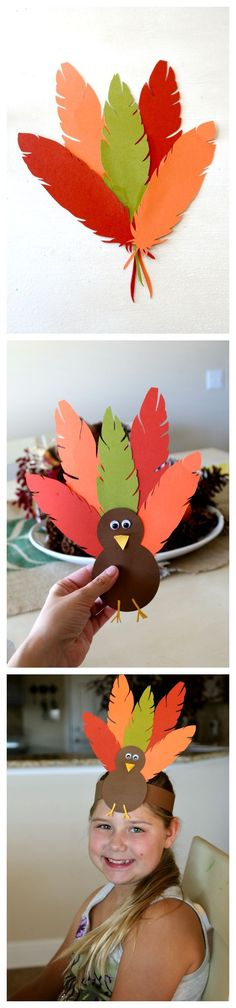 Thanksgiving Turkey Hat, fun hat crafting tutorial perfect for kids, plus Turkey Body Printable (free) to help complete for uncrafty types! #thanksgivingcraftsforkids
