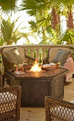 Warm your outdoor conversation area with flickering firelight from our Verona Custom Gas Fire Table. | Frontgate: Live Beautifully Outdoors