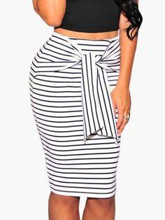 AdoreWe - milanoo.com Mono Stripes Self-tie knee Skirt - AdoreWe.com