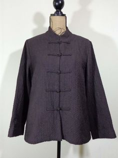 Eileen Fisher jacket lagenlook top art to wear artsy brown upscale designer sz M #EileenFisher #BasicJacket