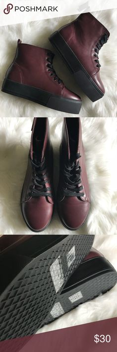 57fb8ab55166d Platform snaeakers Add a little edge to your outfit with these burgundy  platform sneakers.