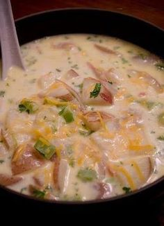 WHAT YOU NEEEEEEED      2 1/2 pounds baby red potatoes, sliced into small bite sized pieces  1/2 lb. uncooked bacon, finely diced  1 medium onion, diced  1/4 bunch celery, diced  8 cups milk  3 cups water  4 chicken bouillon cubes (use 1 cup