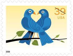 USPS Blue Lovebirds Love Stamp 2006 Designed by Craig Fraizier  (also non-denominated version)