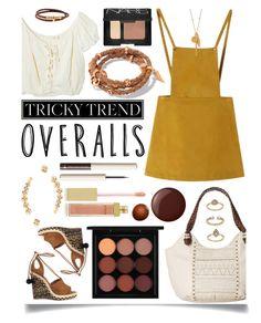 """Tricky Trend: Overalls"" by ittie-kittie ❤ liked on Polyvore featuring Chicnova Fashion, Jens Pirate Booty, Aquazzura, Hermès, Chan Luu, The Sak, MAC Cosmetics, NARS Cosmetics, Henri Bendel and BaubleBar"