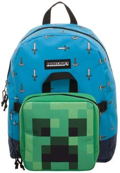 Your Minecraft fan is sure to love this Pickax and Sword Backpack and Creeper Head Lunch Box Set. Lunch Box Backpack, Minecraft Sword, Lunch Box Set, Health Bar, Band Merch, Friend Photos, Jansport Backpack, Creepers, Shopping