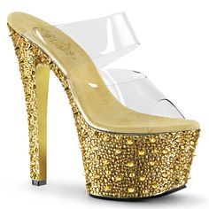 Womens Gold Platform Heels Rhinestone Shoes Spikes Slide Sandals 7 Inch Heels Size 8 * Find out more about the great product at the image link. (This is an affiliate link) Gold Platform Heels, Gold Shoes, Gold Sandals, Sandals Platform, Shoes Sandals, Bedroom Heels, 7 Inch Heels, Stripper Shoes, Gold Chrome