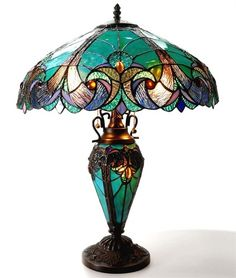 Victorian Deco Stained Glass Table Floor Lamp
