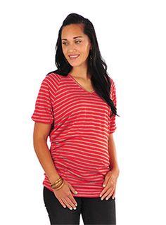 Patch - stripe gather knit tee