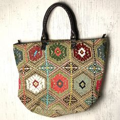 Embroidered Patchwork Tote