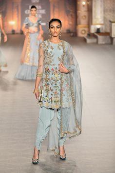 Blue embroidered Shyamal Bhumika Kurta Dhoti set - Fashion Show Indian Fashion Designers, Indian Designer Outfits, Designer Dresses, Indian Gowns Dresses, Pakistani Dresses, Pakistani Bridal, Indian Wedding Outfits, Indian Outfits, Indian Clothes