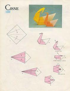 Como fazer origami: Cisne | Atividades para colorir